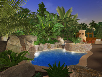 rendering of project by Don Ramos of Distinguished Pools