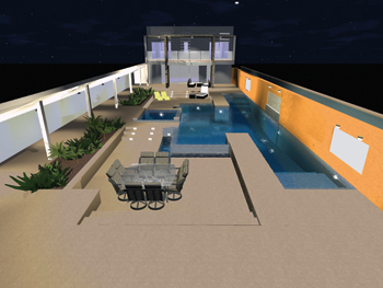rendering of backyard pool design