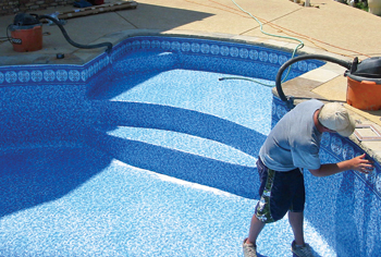Photo Of Vinyl Liner Installation. Photo Courtesy Seahorse Pools