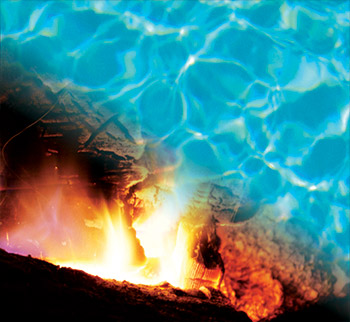 photo of fire integrated with water