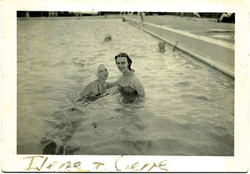 photo of two women in a pool