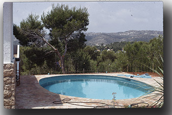 photo of a circular pool with a scenic background