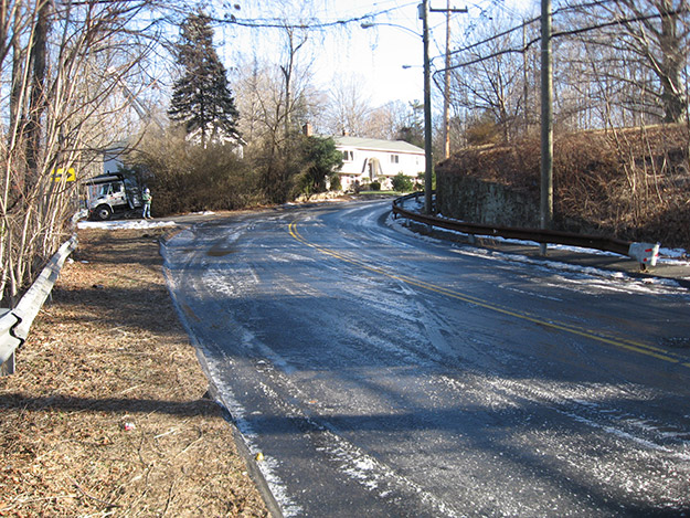 photo of iced-over road
