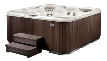 Step right up with spa steps surrounds and enclosures aqua magazine - Jacuzzi spa exterieur ...