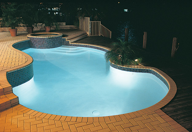 photo of a pool lit by LED lights