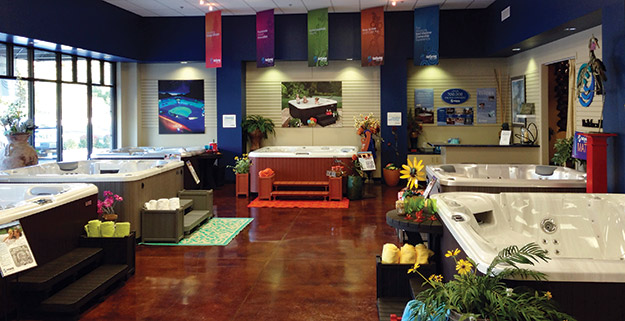 A showroom with an apple store twist aqua magazine for Pool showrooms