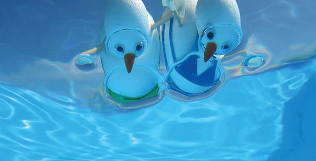 photo of snowmen pool floaters