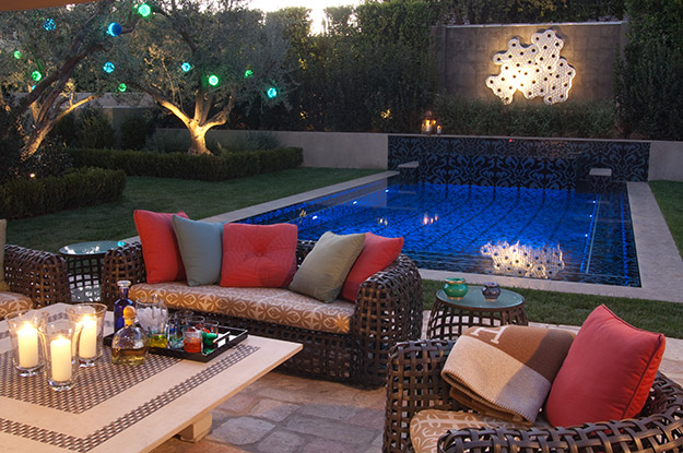 photo of an outdoor room near a pool