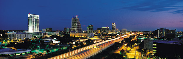 photo of the Orlando, FL skyline at night