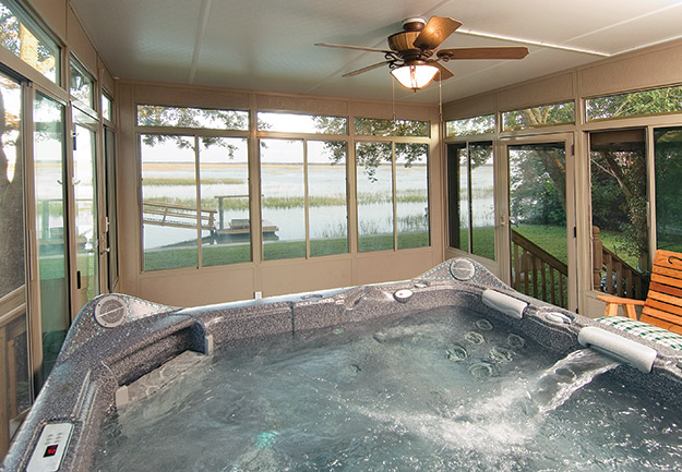 Photo Of A Sunroom With Hot Tub