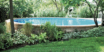 photo of aboveground pool built for sloped backyards