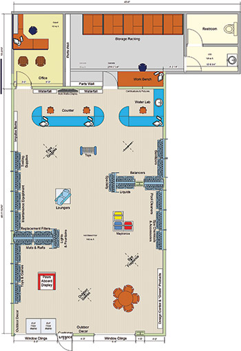 photo of Claffey Pools store layout