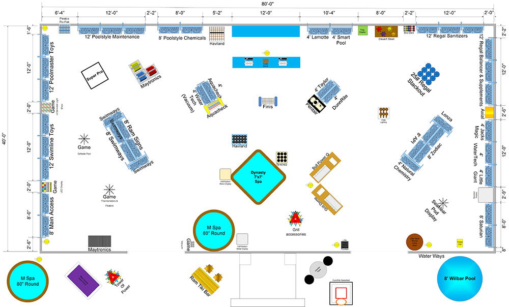 mock layout of a pool retail store