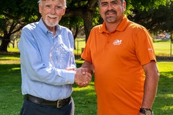 Rick English (left) receives his award with Javier Payan, Payan Pool Service.