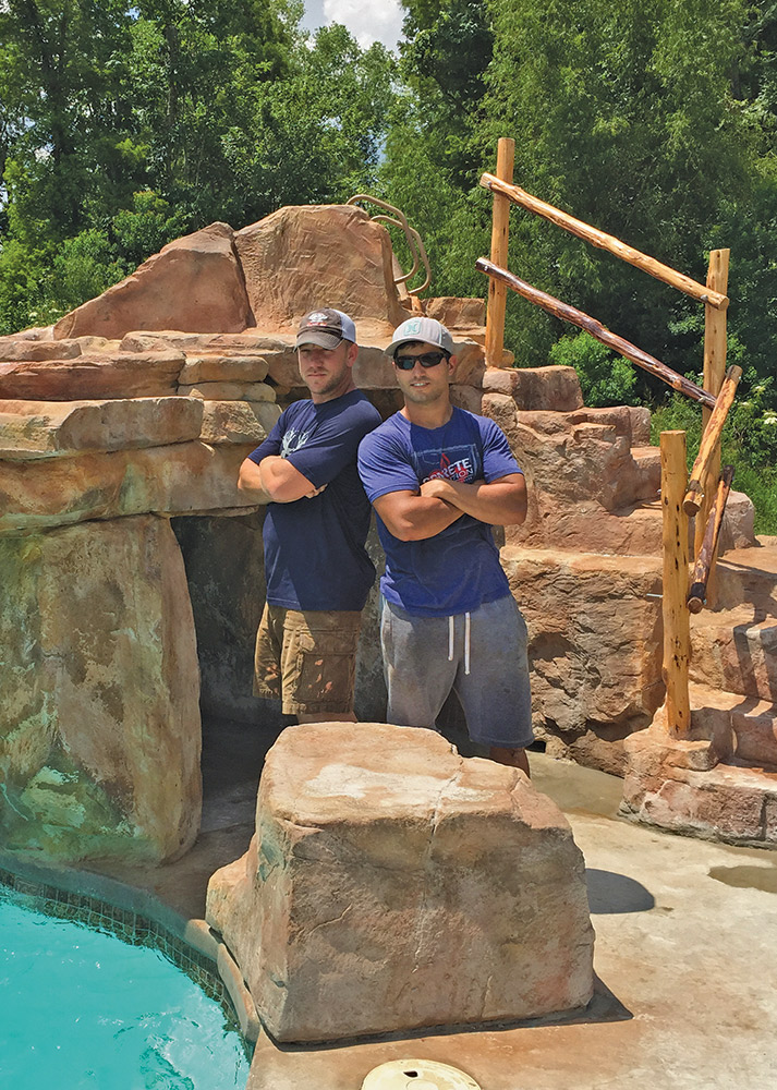 a finished cave and waterfall enhancing the value and appeal of an ordinary backyard pool provides a feeling of satisfaction to builder and homeowner - Cool Pools With Caves