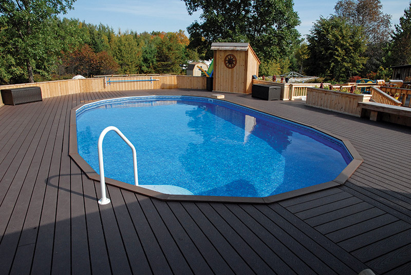Slideshow what you can do with an aboveground pool aqua for Above ground pool half decks