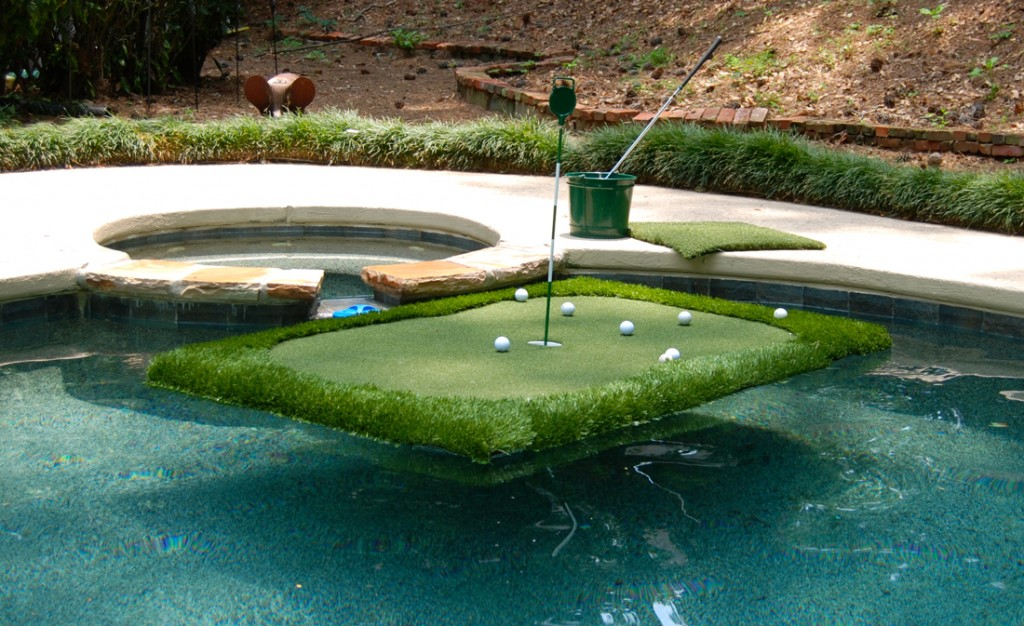 bring the golf course to the pool with the floating golf green aqua magazine